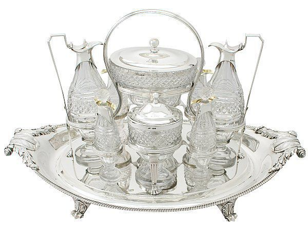 Cut glass cruet service
