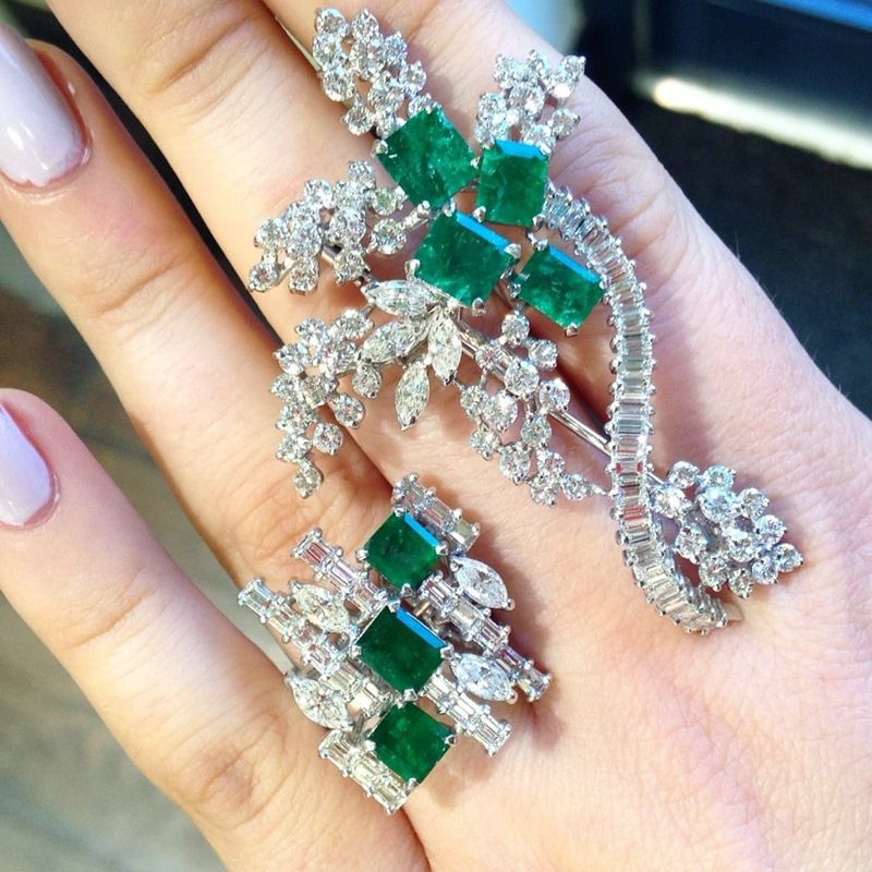 Emerald Ring and Brooch