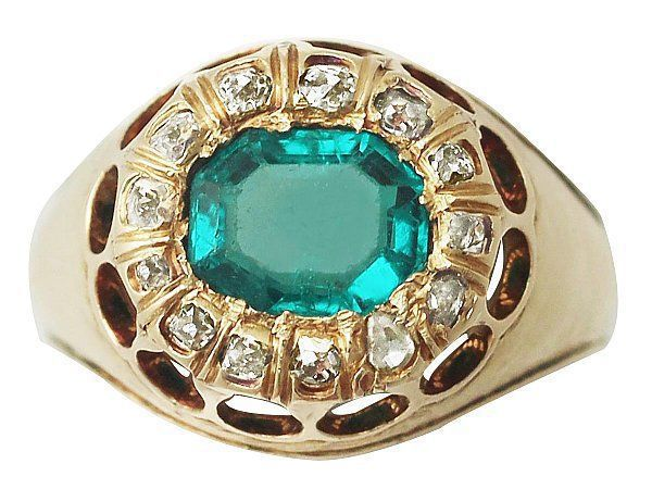 Emerald Old Mine Cut Ring