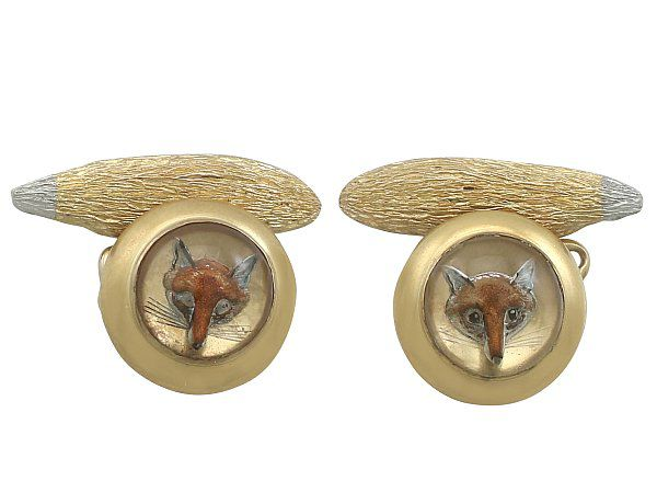 Mens Gold Fox Cufflinks