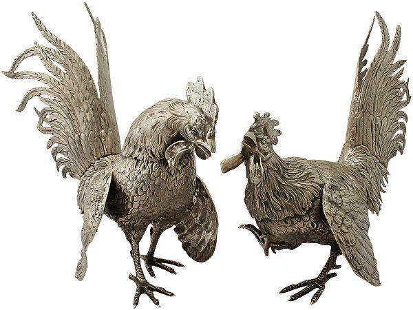 silver cockerel ornaments