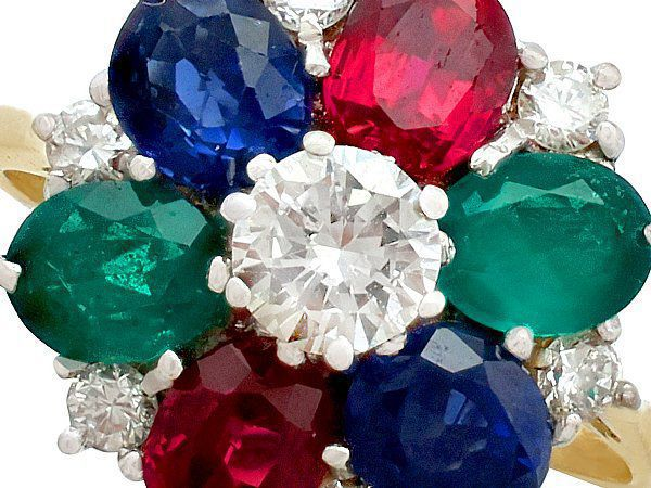multi gem cluster ring