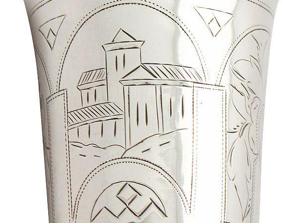 russian silver beaker close up