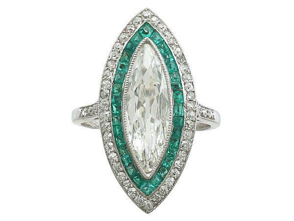 Diamond and Emerald Marquise Ring