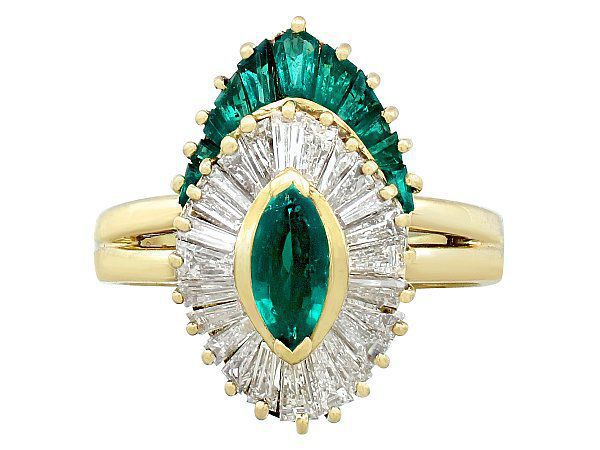 Emerald and Yellow Gold Marquise Ring