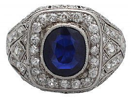 mens antique sapphire and diamond ring