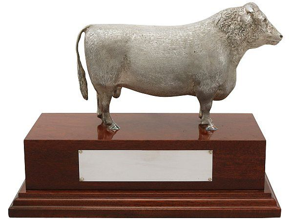 Sterling Silver Bull Trophy
