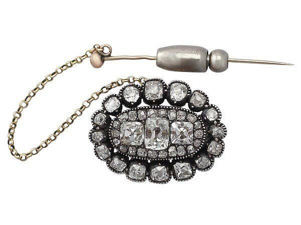 Old Mine Cut Diamond Brooch