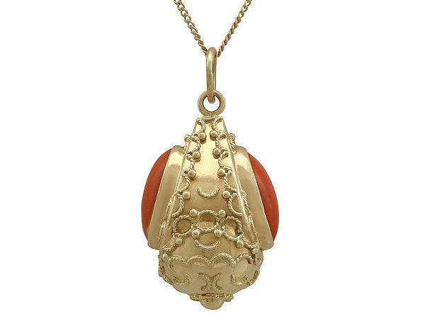 gold coral pendant