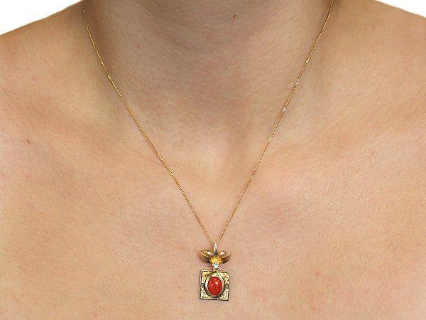 vintage coral pendant