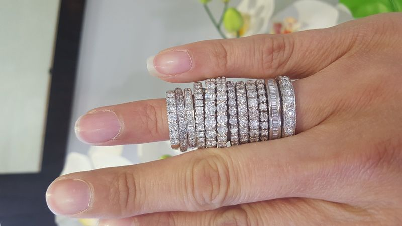 stack of white gold rings