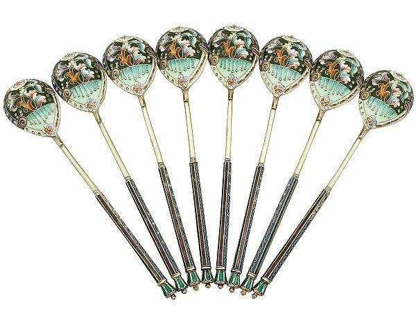 Russian Silver Gilt and Polychrome Cloisonné Enamel Spoons