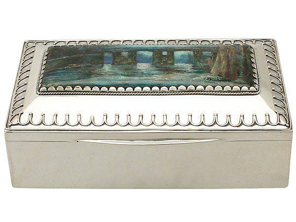 Silver enamel box