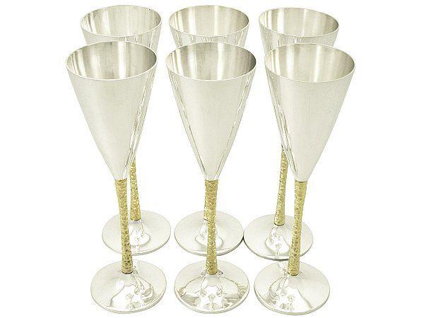 Stuart Devlin Gilt Champagne Flutes