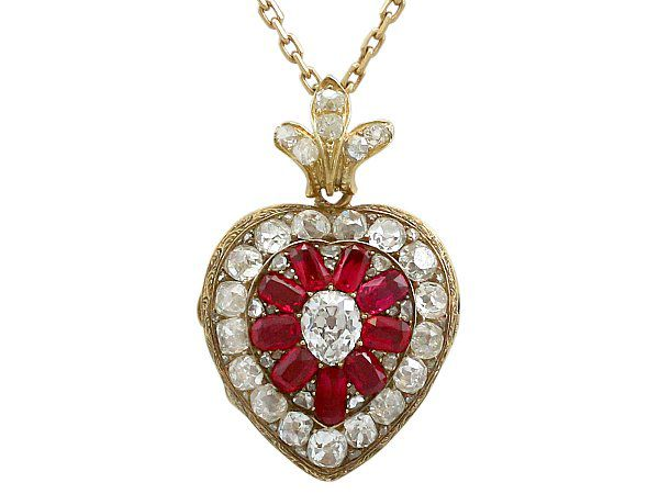 Victorian Ruby Heart Pendant