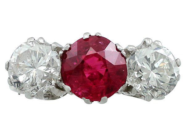 Ruby gemstone trilogy ring