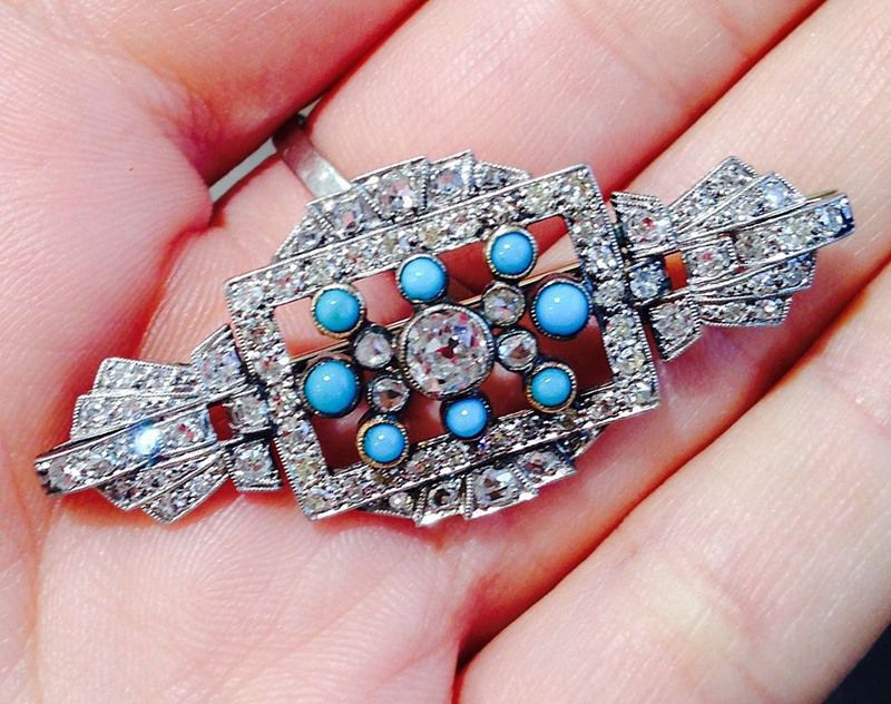 Diamond and Turquoise Brooch