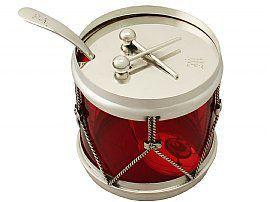 Silver 'Drum' Preserve Pot