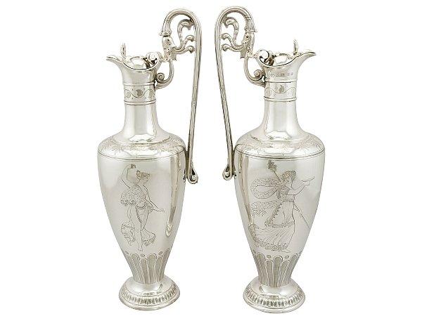 Victorian silver claret jugs