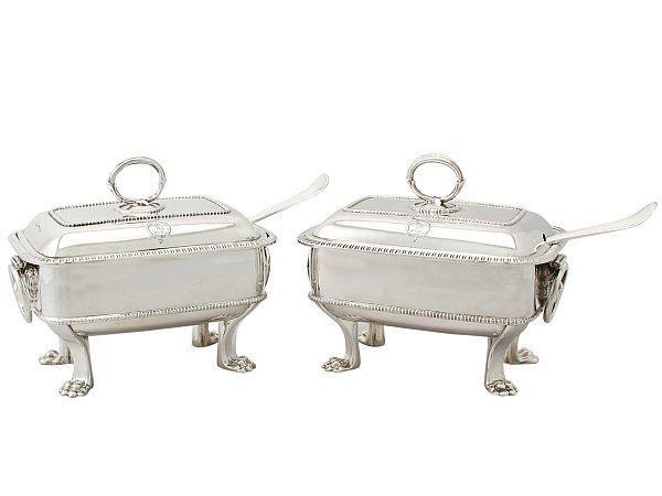 Silver tureens with ladles