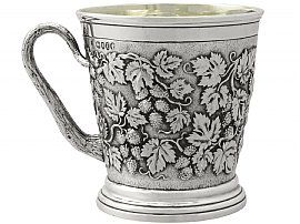 Sterling Silver Christening Mug by John Hunt & Robert Roskell - Antique Victorian