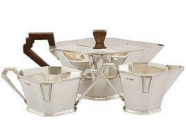 Sterling Silver Three Piece Tea Service - Art Deco - Antique George V (1934)