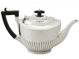 Sterling Silver Teapot by Jones & Crompton - Queen Anne Style - Antique Edwardian