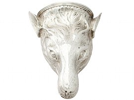 Sterling Silver Fox Head Stirrup Cup - Antique George III