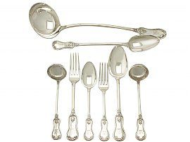 Scottish Sterling Silver Canteen of Cutlery for Twelve Persons - Antique Victorian (1845)