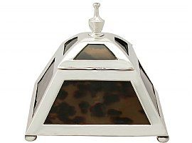 Sterling Silver and Tortoiseshell Inkwell - Antique Edwardian