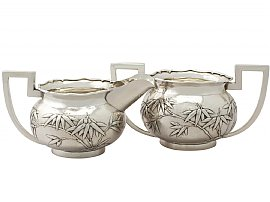Chinese Export Silver Cream Jug and Sugar Bowl - Antique Circa 1900