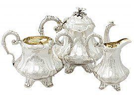 Sterling Silver Three Piece Tea Service by Joseph Angell II - Antique Victorian (1852)