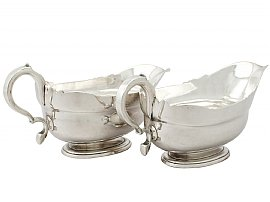 Newcastle Sterling Silver Sauceboats by Isaac Cookson - Antique George II
