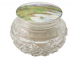 Sterling Silver, Cut Glass and Enamel Dressing Table Jar - Antique George V (1927)