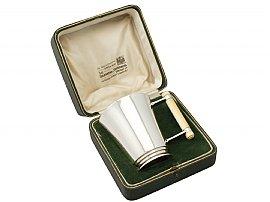 Sterling Silver Christening Mug - Art Deco - Antique George V (1933)