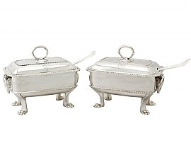 Sterling Silver Sauce Tureens with Ladles - Antique George III