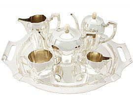 Austro-Hungarian Silver Five Piece Tea and Coffee Service with Tray - Antique Circa 1900