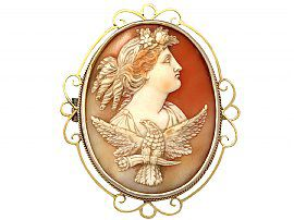 Carved Shell and 15 ct Yellow Gold Cameo Brooch - Antique Circa 1880