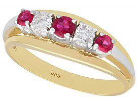 0.65 ct Ruby and 0.28 ct Diamond, 14 ct Yellow Gold Dress Ring - Vintage Circa 1960