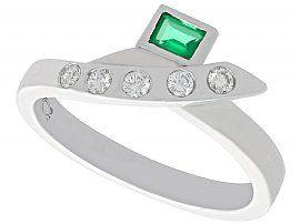 0.16 ct Emerald and 0.15 ct Diamond, Platinum Dress Ring - Vintage Circa 1990