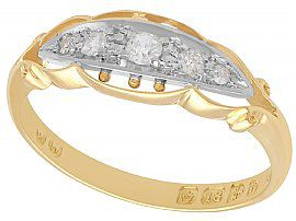 0.13 ct Diamond and 18 ct Yellow Gold Dress Ring - Antique 1914