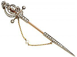 2.85 ct Diamond and 14 ct Yellow Gold Pin Brooch - Antique Victorian