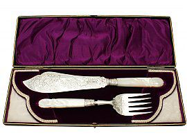 Sterling Silver and Mother of Pearl Handled Fish Servers - Antique Victorian