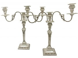 Sterling Silver Three Light Candelabra - Empire Style - Antique Victorian