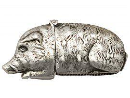 Sterling Silver 'Wild Boar' Vesta Case - Antique Victorian