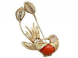 Ruby, Moonstone, Coral and 18 ct Yellow Gold 'Hummingbird' Brooch - Vintage Italian Circa 1950