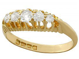 0.56 ct Diamond and 18 ct Yellow Gold Dress Ring - Antique 1905