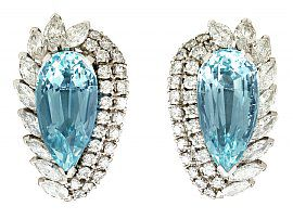 21.12 ct Aquamarine and 5.86 ct Diamond, 18 ct White Gold Clip on Earrings - Vintage Circa 1980