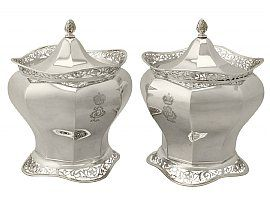 Sterling Silver Biscuit Boxes - Antique Edwardian