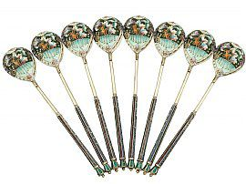 Russian Silver Gilt and Polychrome Cloisonné Enamel Spoons - Vintage Circa 1945